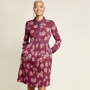 Modcloth Long Sleeve Dress in Berry Floral Sz 14
